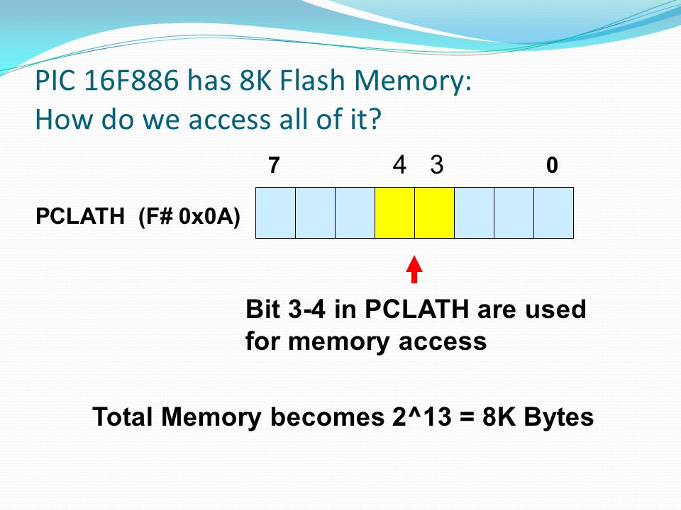 PIC 16F886 has 8K Flash Memory: How do we access all of it