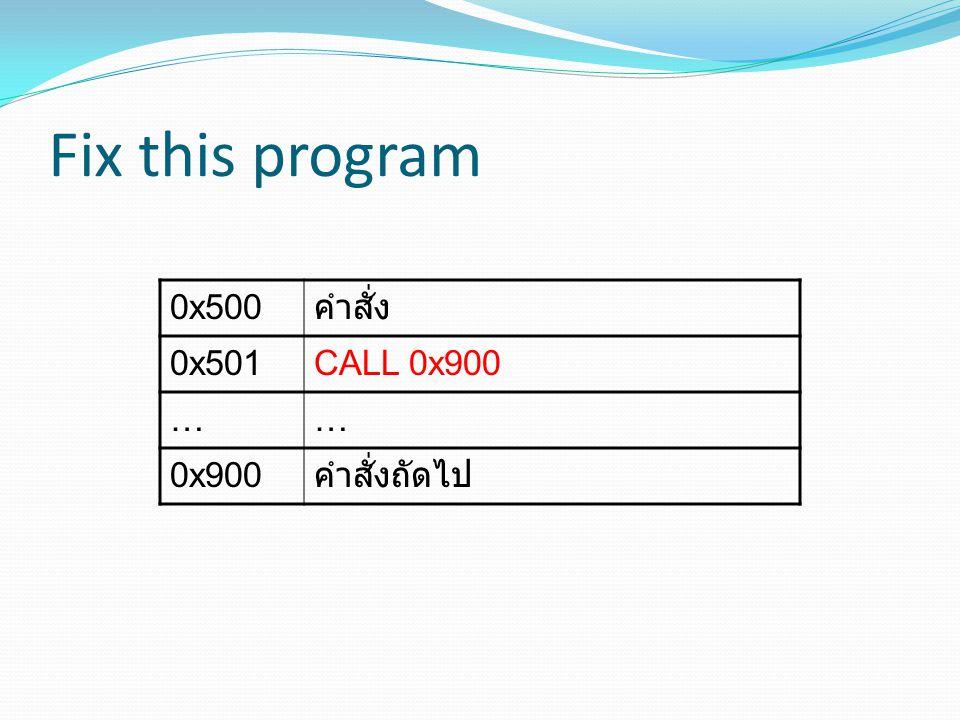 Fix this program 0x500 คำสั่ง 0x501 CALL 0x900 … 0x900 คำสั่งถัดไป