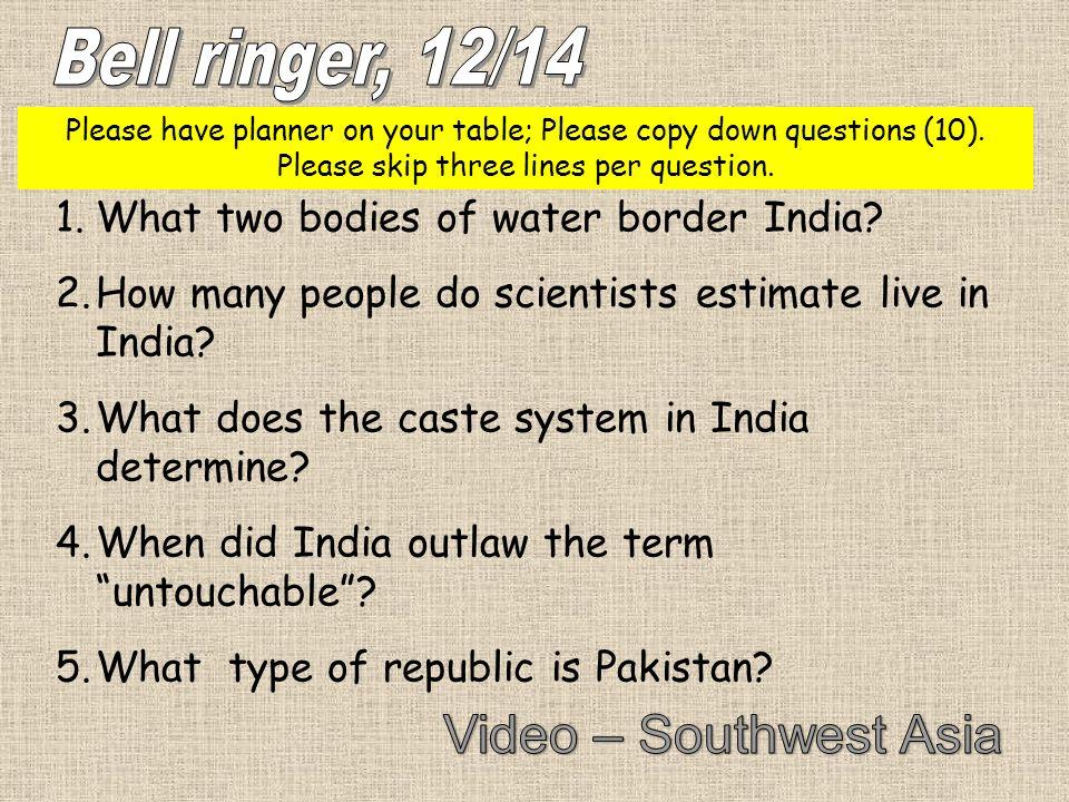 Bell ringer, 12/14 Video – Southwest Asia