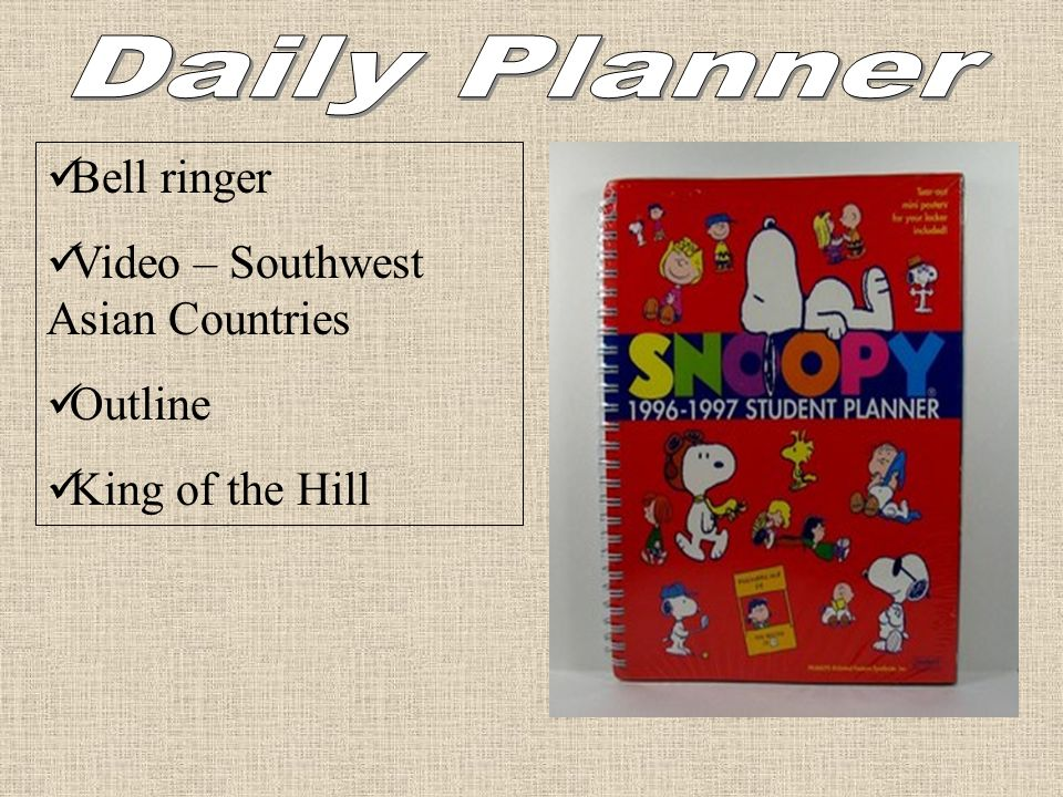 Daily Planner Bell ringer Video – Southwest Asian Countries Outline