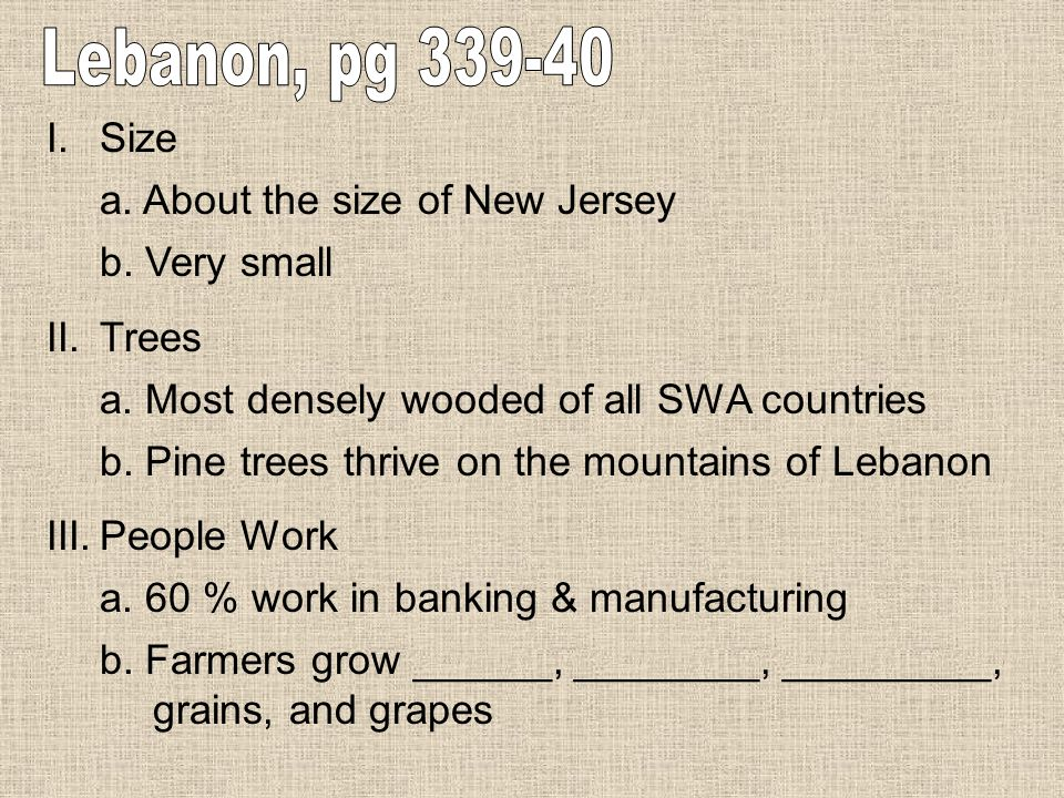 Lebanon, pg 339-40 Size a. About the size of New Jersey b. Very small