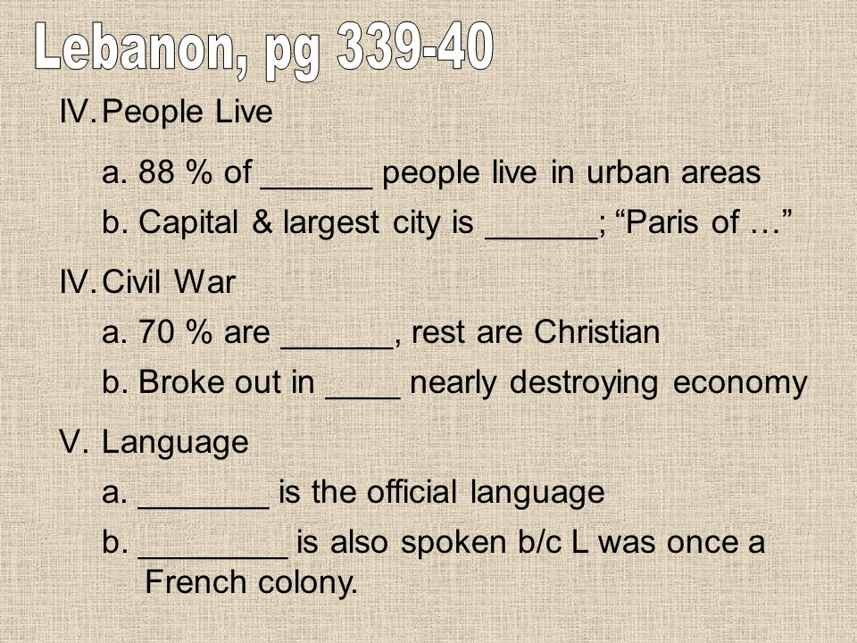 Lebanon, pg 339-40 People Live