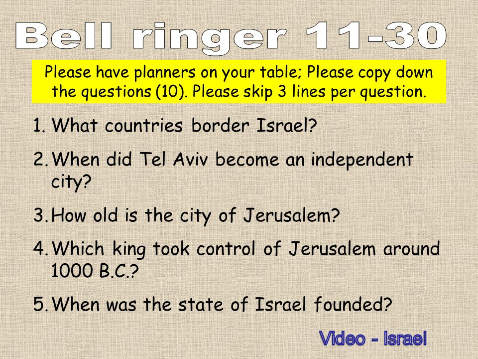 Bell ringer 11-30 What countries border Israel