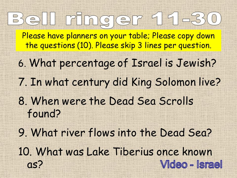 Bell ringer 11-30 7. In what century did King Solomon live