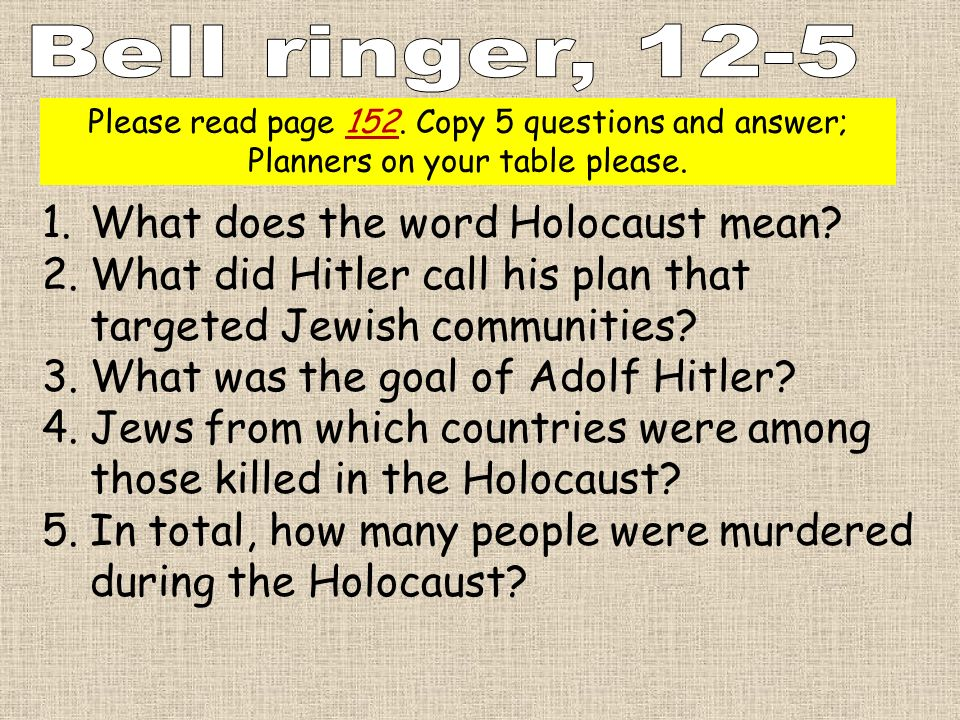 Bell ringer, 12-5 What does the word Holocaust mean