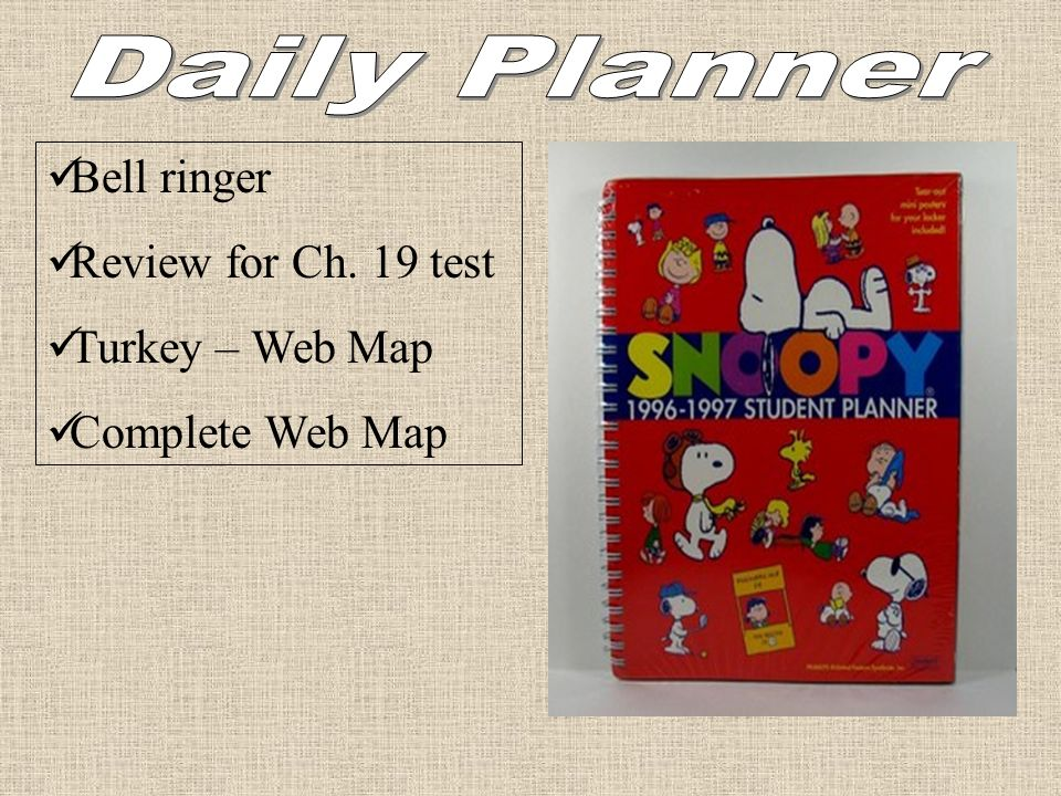Daily Planner Bell ringer Review for Ch. 19 test Turkey – Web Map