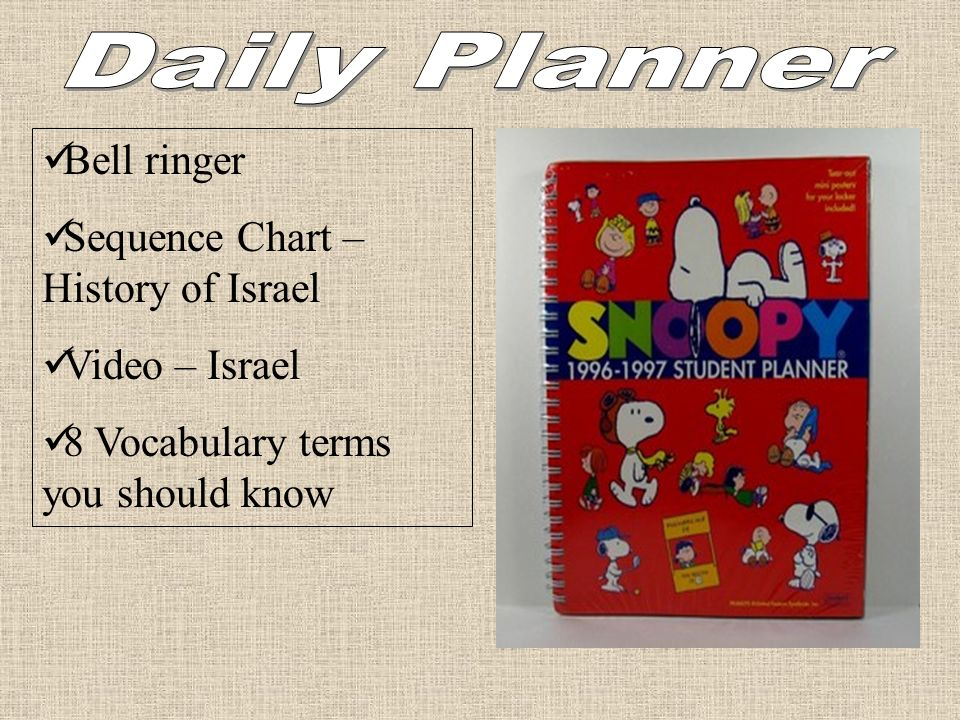 Daily Planner Bell ringer Sequence Chart – History of Israel
