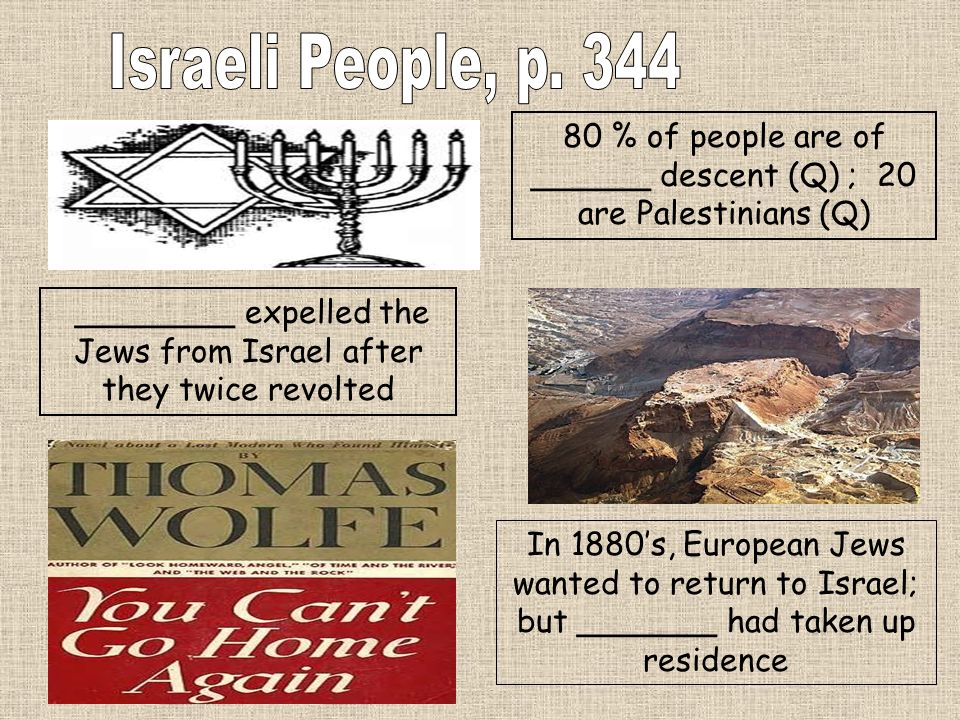 Israeli People, p. 344 80 % of people are of ______ descent (Q) ; 20 are Palestinians (Q)