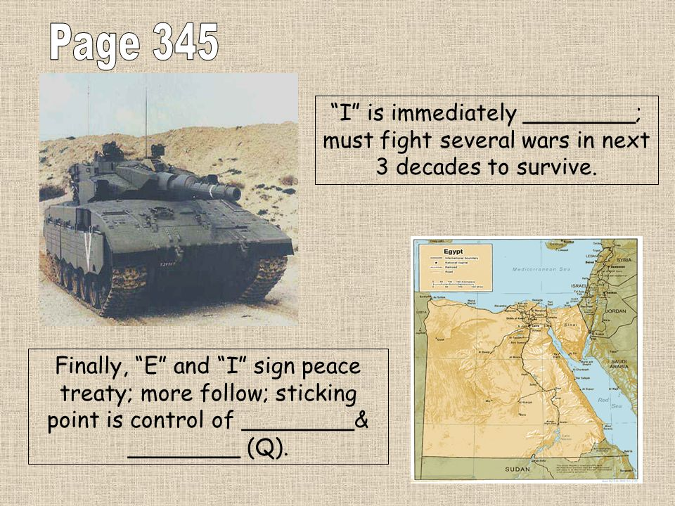 Page 345 I is immediately ________; must fight several wars in next 3 decades to survive.