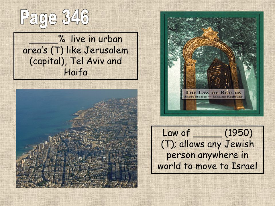 Page 346 _____% live in urban area's (T) like Jerusalem (capital), Tel Aviv and Haifa.