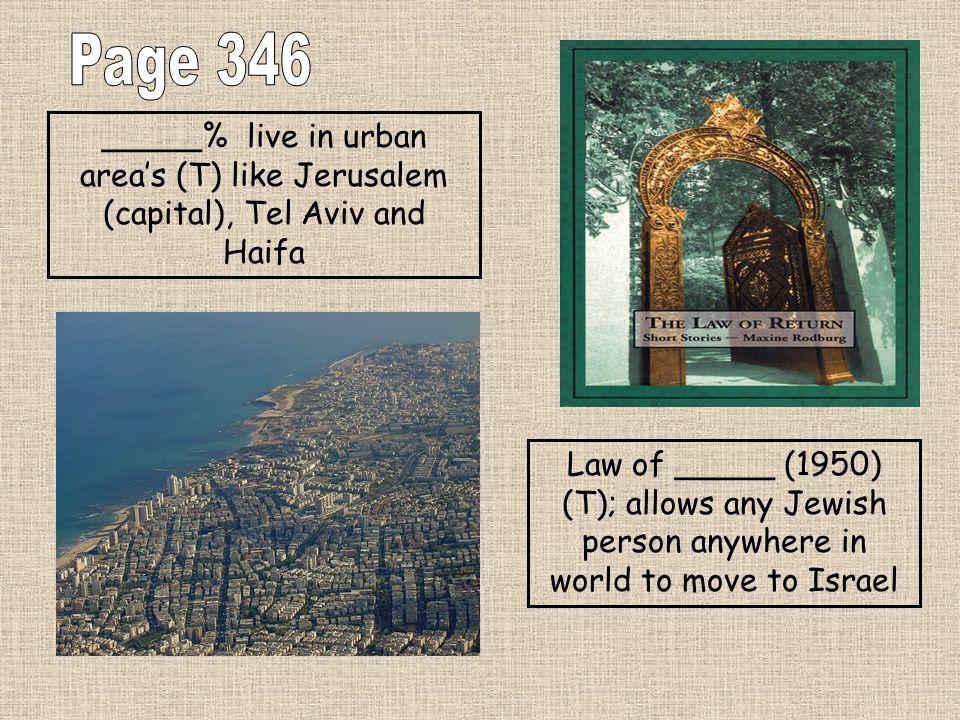 Page 346 _____% live in urban area's (T) like Jerusalem (capital), Tel Aviv and Haifa.