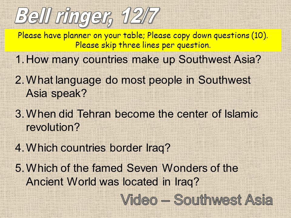 Bell ringer, 12/7 Video – Southwest Asia