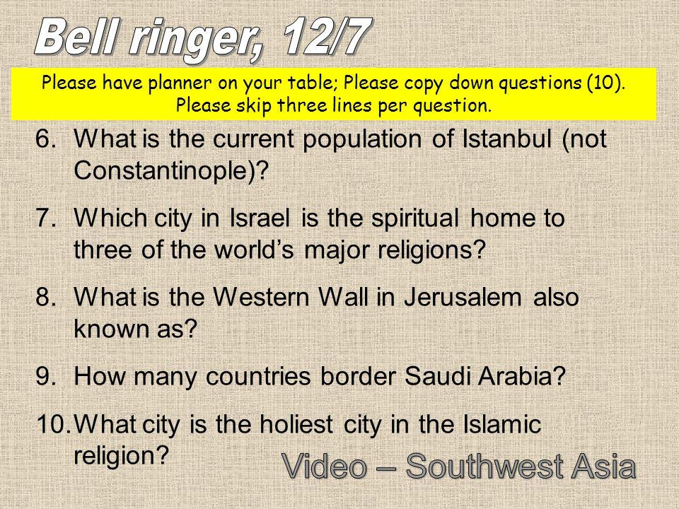 Bell ringer, 12/7 Video – Southwest Asia