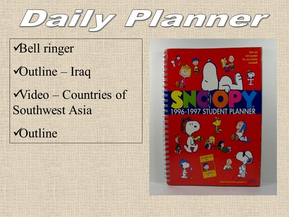 Daily Planner Bell ringer Outline – Iraq