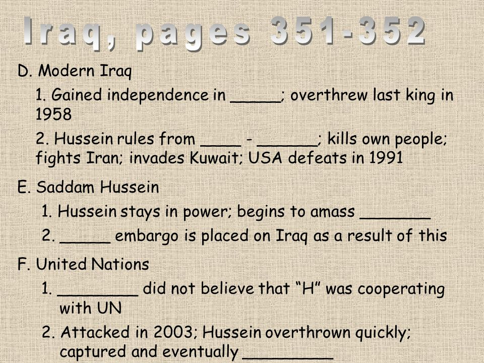 Iraq, pages D. Modern Iraq