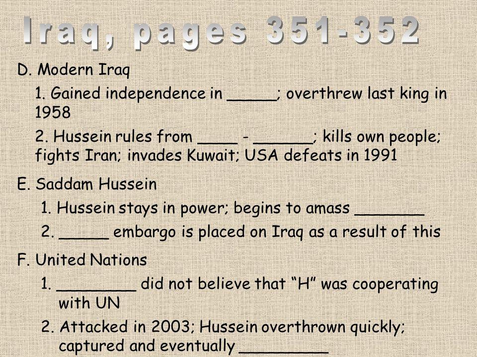 Iraq, pages 351-352 D. Modern Iraq