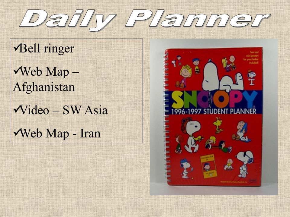 Daily Planner Bell ringer Web Map – Afghanistan Video – SW Asia