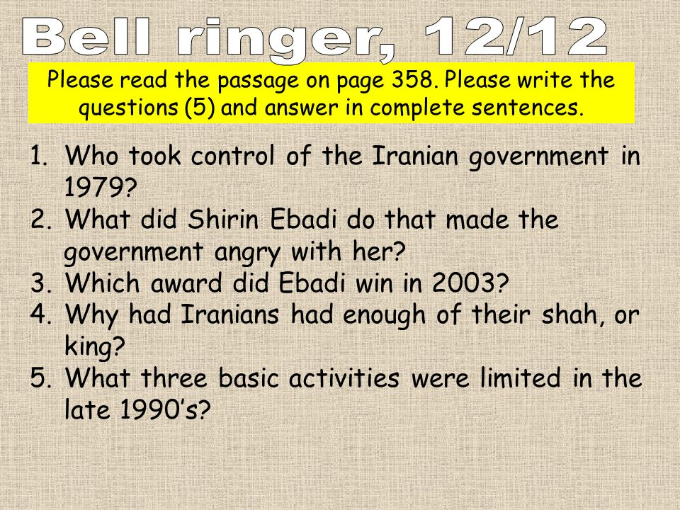 Bell ringer, 12/12 Who took control of the Iranian government in 1979