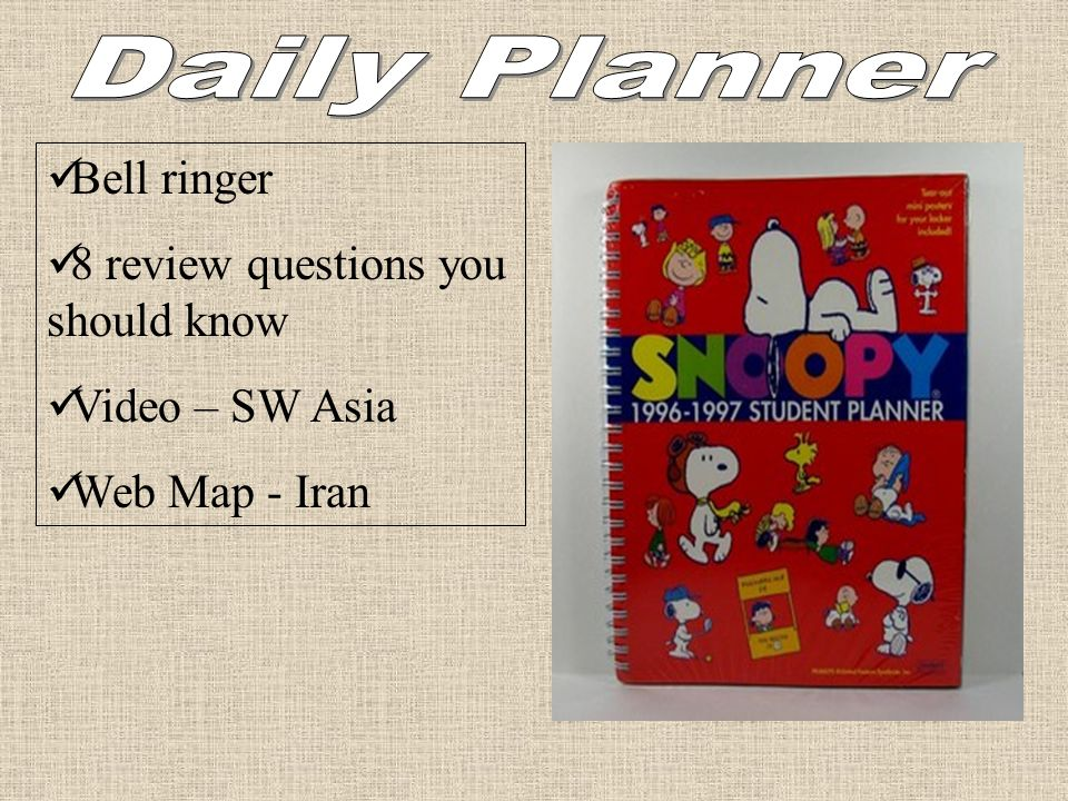 Daily Planner Bell ringer 8 review questions you should know