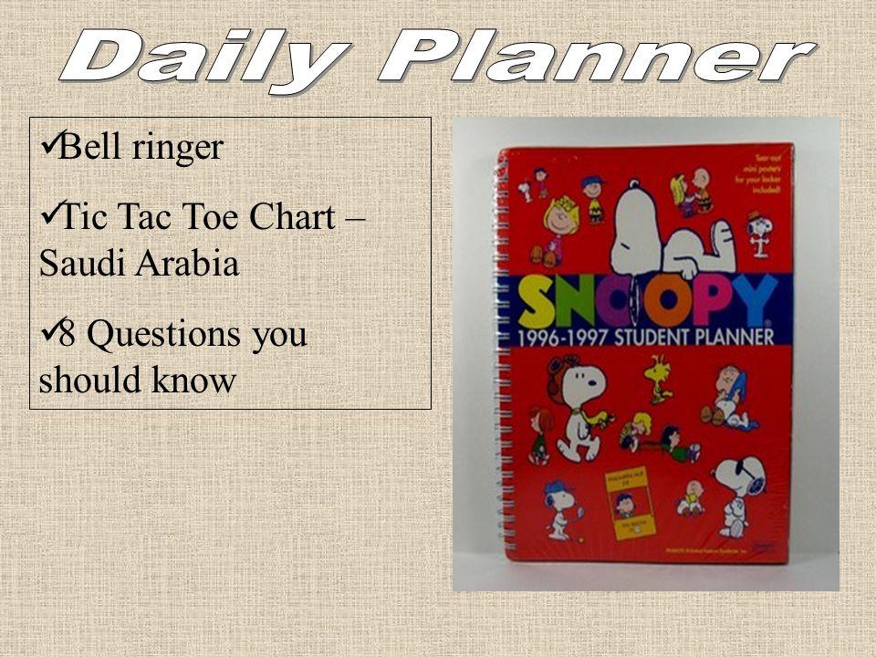 Daily Planner Bell ringer Tic Tac Toe Chart – Saudi Arabia