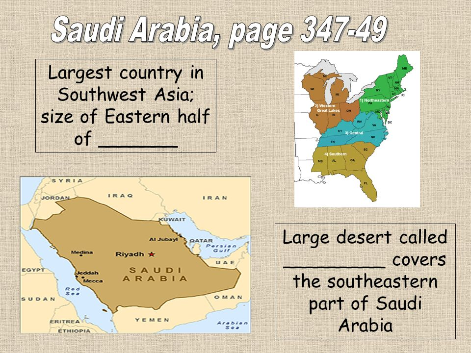 Largest country in Southwest Asia; size of Eastern half of _______