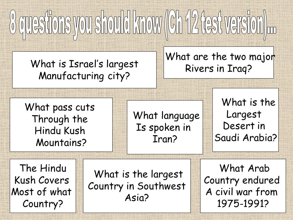 8 questions you should know (Ch 12 test version)...