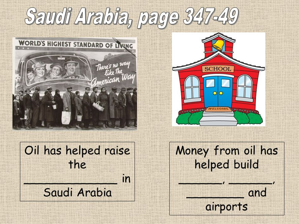 Saudi Arabia, page 347-49Oil has helped raise the _____________ in Saudi Arabia.