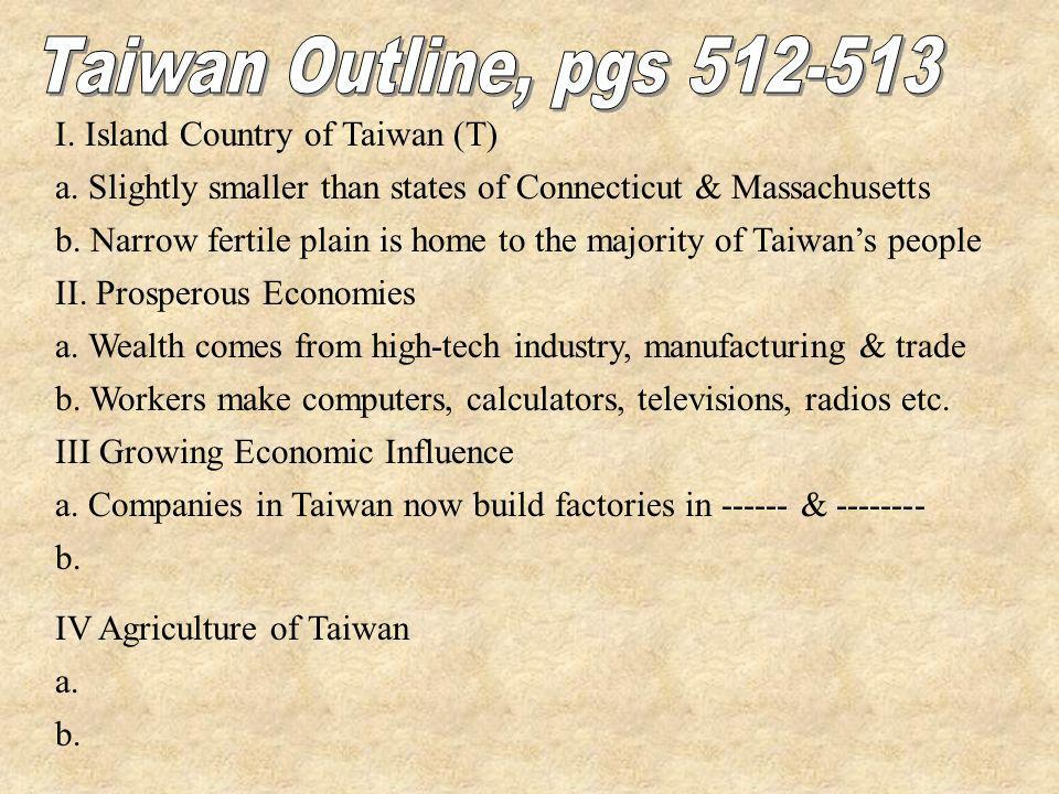Taiwan Outline, pgs 512-513 I. Island Country of Taiwan (T)