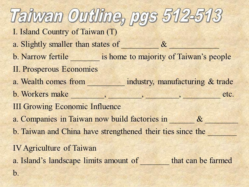 Taiwan Outline, pgs I. Island Country of Taiwan (T)