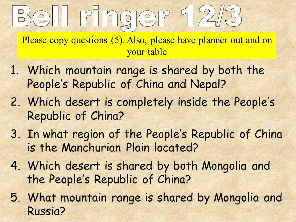 Bell ringer 12/3 Please copy questions (5). Also, please have planner out and on your table.