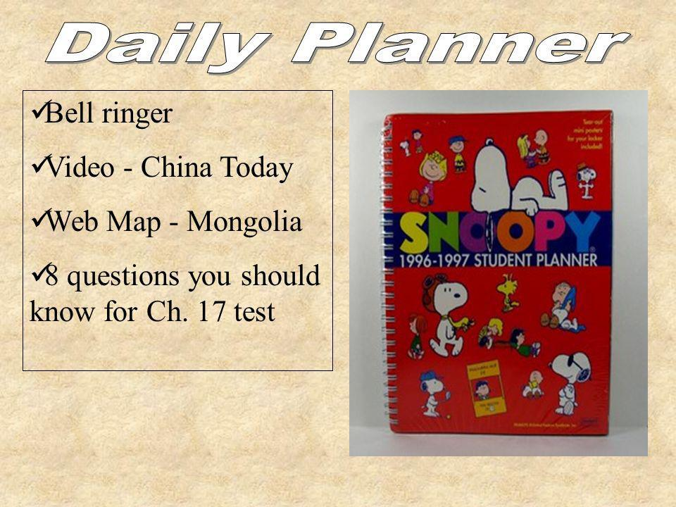 Daily Planner Bell ringer Video - China Today Web Map - Mongolia