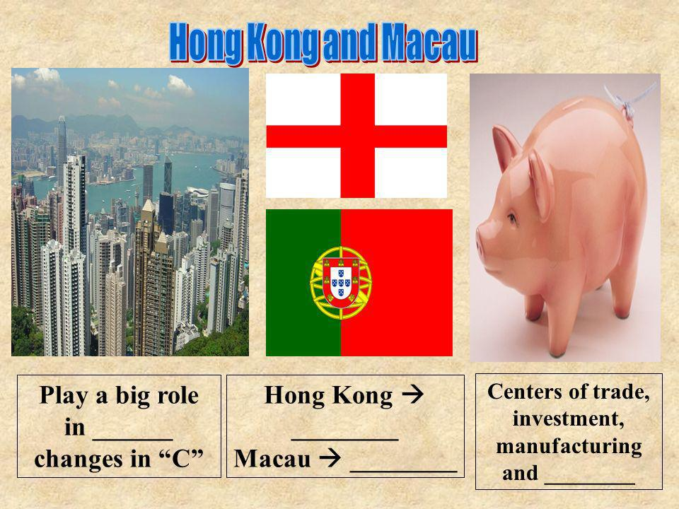 Hong Kong and Macau Play a big role in ______ changes in C