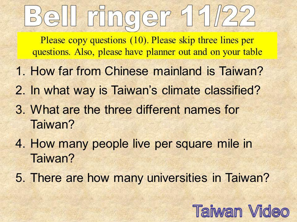 Taiwan Video Bell ringer 11/22