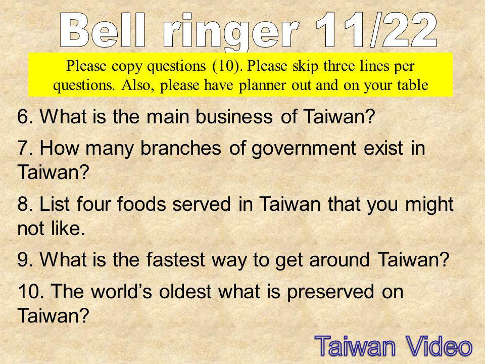 Taiwan Video Bell ringer 11/22 6. What is the main business of Taiwan