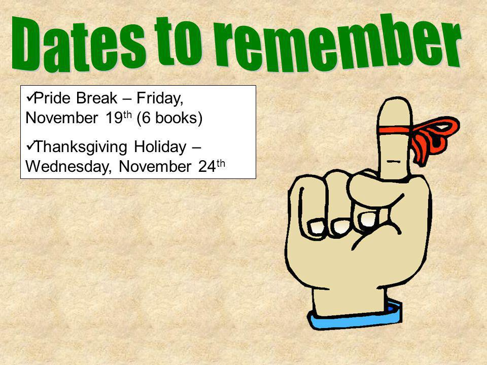 Dates to remember Pride Break – Friday, November 19th (6 books)