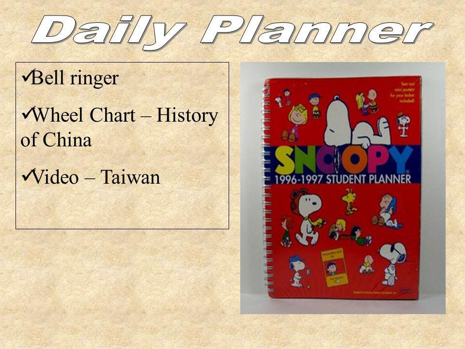 Daily Planner Bell ringer Wheel Chart – History of China
