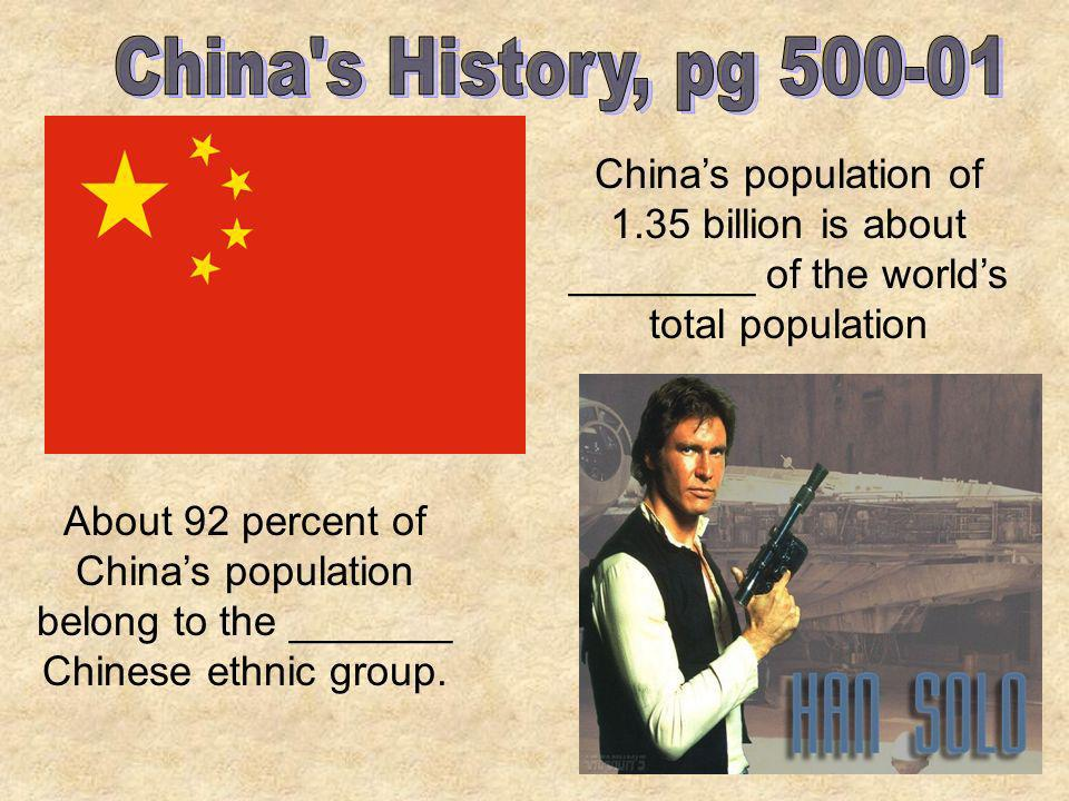 China s History, pg China's population of 1.35 billion is about ________ of the world's total population.