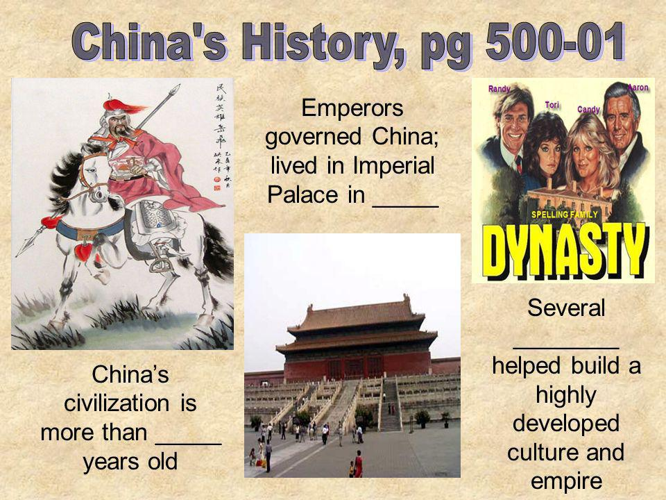 China s History, pg 500-01 Emperors governed China; lived in Imperial Palace in _____.