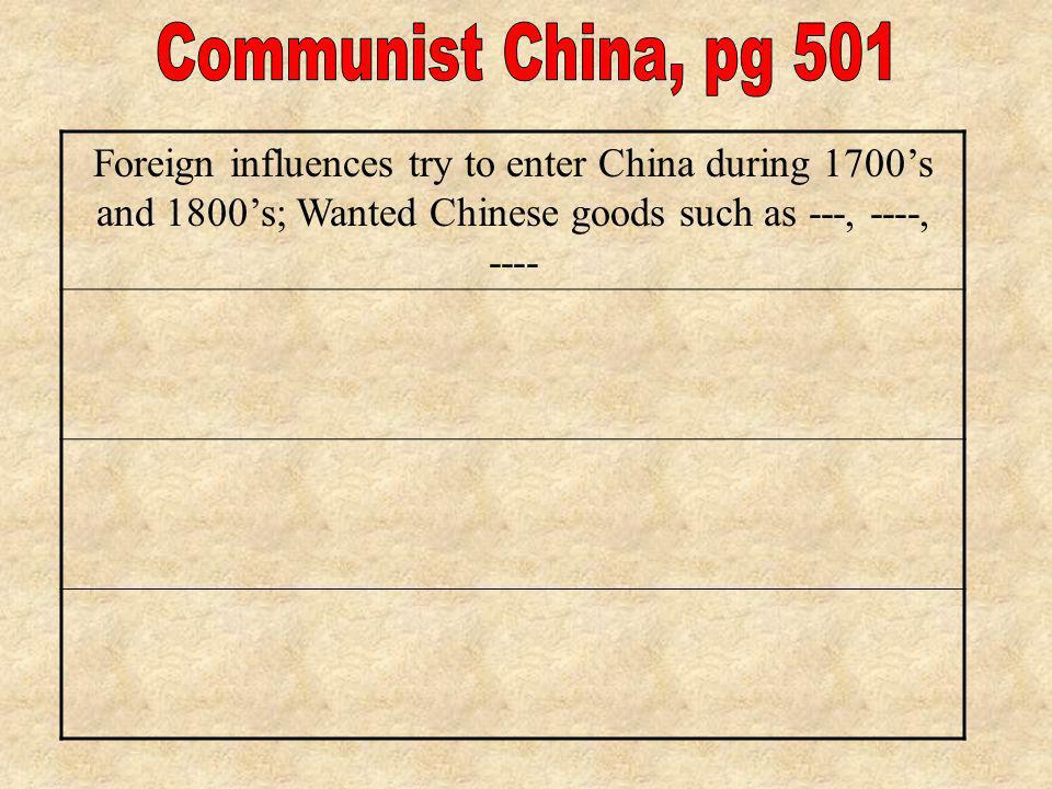 Communist China, pg 501 Foreign influences try to enter China during 1700's and 1800's; Wanted Chinese goods such as ---, ----, ----