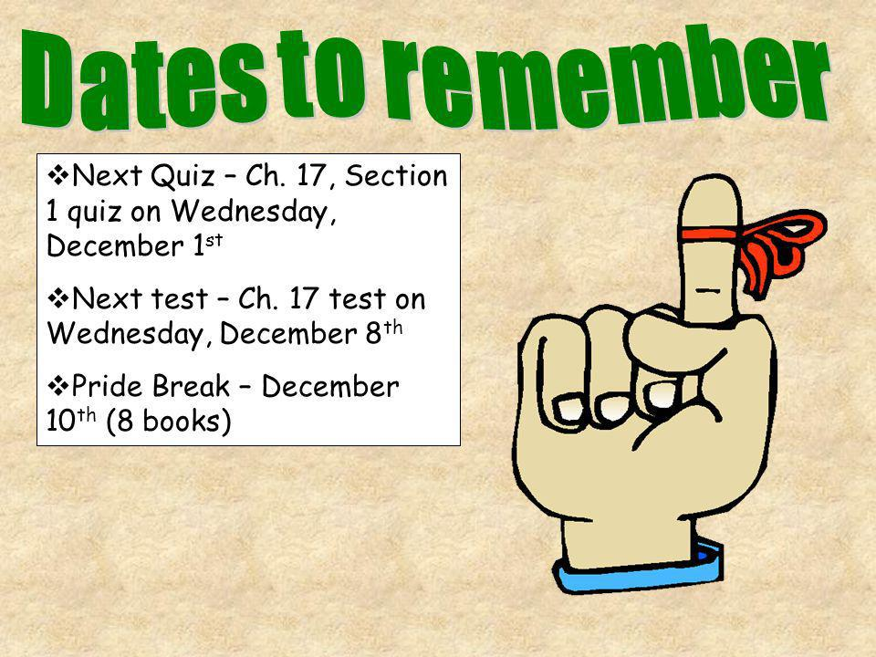 Dates to remember Next Quiz – Ch. 17, Section 1 quiz on Wednesday, December 1st. Next test – Ch. 17 test on Wednesday, December 8th.