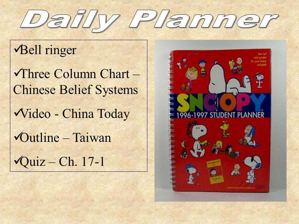 Daily Planner Bell ringer Three Column Chart – Chinese Belief Systems