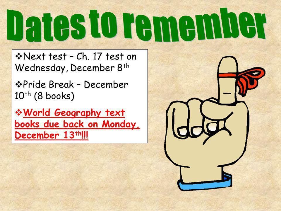 Dates to remember Next test – Ch. 17 test on Wednesday, December 8th