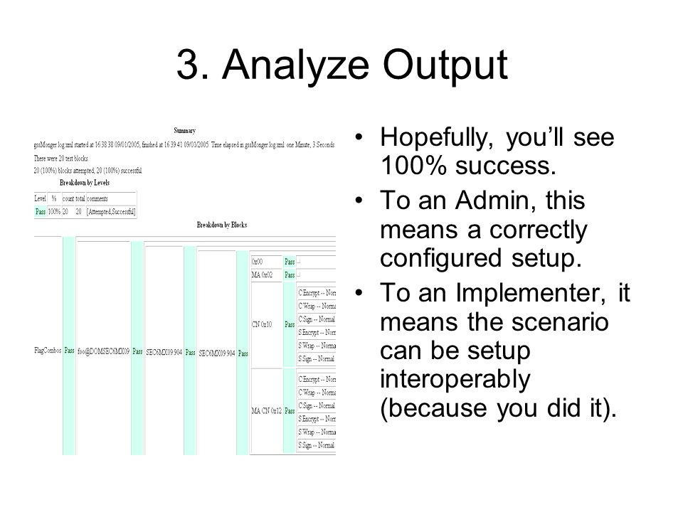3. Analyze Output Hopefully, you'll see 100% success.
