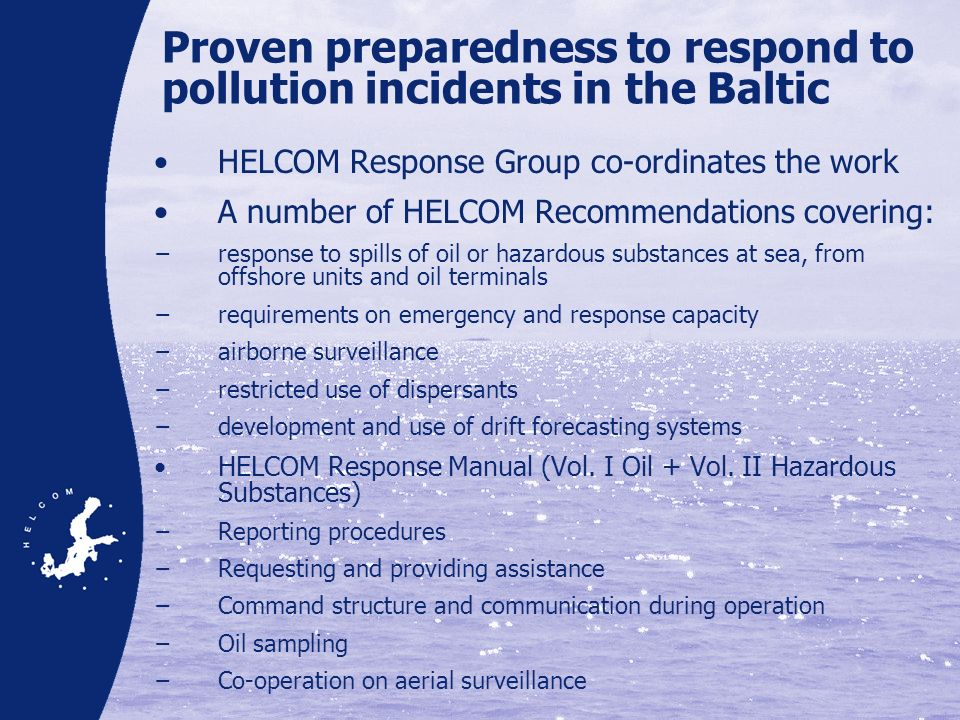 Proven preparedness to respond to pollution incidents in the Baltic