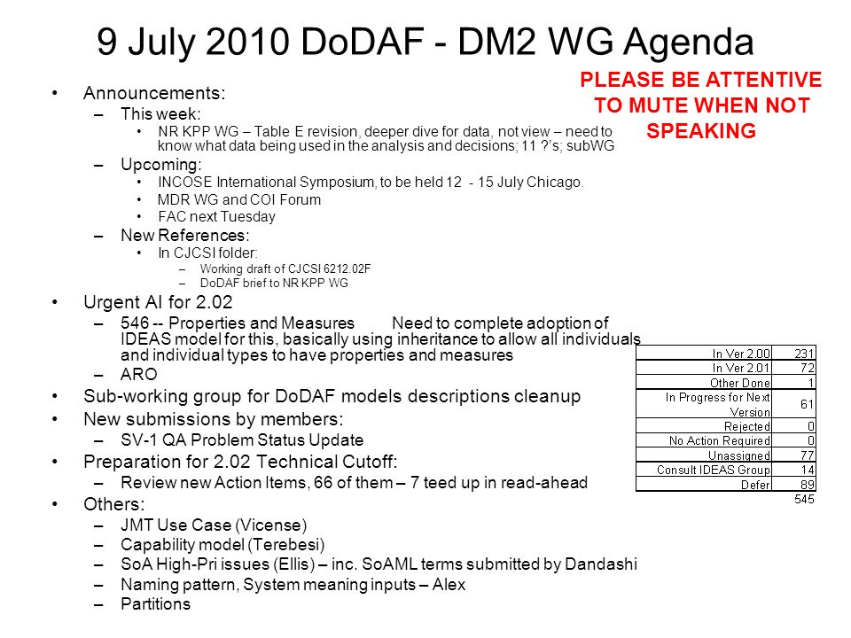 9 July 2010 DoDAF - DM2 WG Agenda