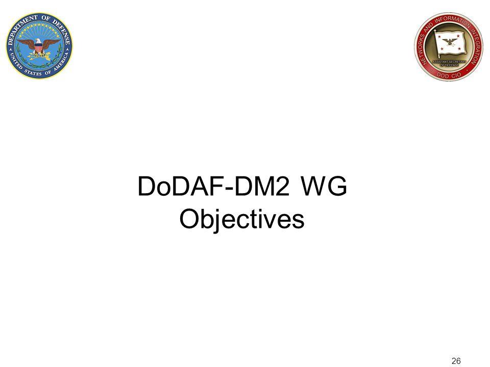 DoDAF-DM2 WG Objectives