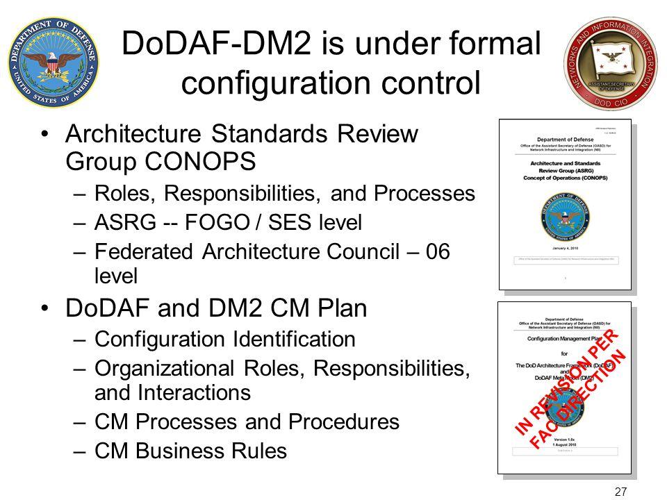 DoDAF-DM2 is under formal configuration control