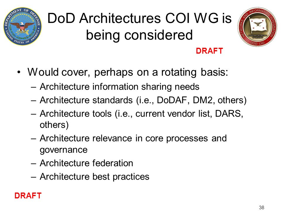 DoD Architectures COI WG is being considered