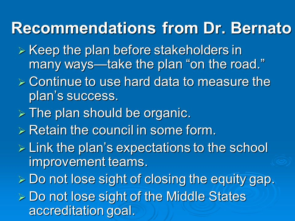 Recommendations from Dr. Bernato