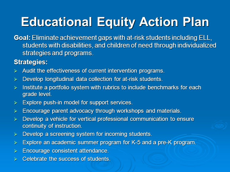 Educational Equity Action Plan